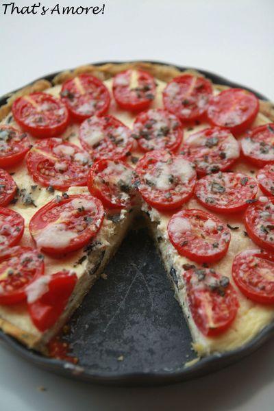 Tarte à la tomate, parmesan & basilic, cheesecake d'olives noires 4