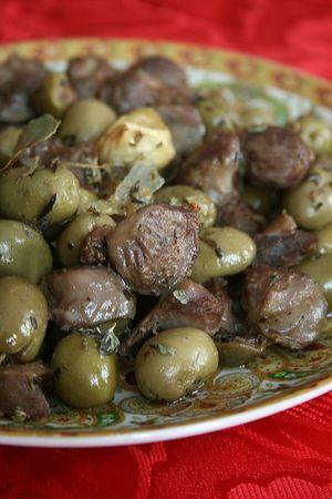 Gésiers de volailles aux olives (recette juive)