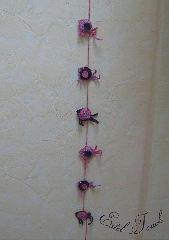 guirlande oiseau rose violet3