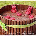 Gâteau 3d : la piscine à cochons