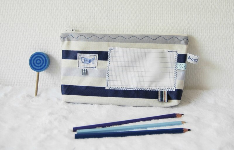 Brodi Broda-porte trousse-cadeau maîtresse personnalisé-bleu - poisson