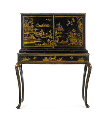 An_Italian_mid_19th_century_black_and_gilt_Japanned_and_painted_cabinet_on_stand1