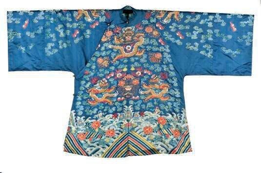 A Chinese blue-ground 'dragon' robe, 19th century