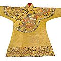 A fine imperial yellow silk brocade chuba. late ming/early qing dynasty