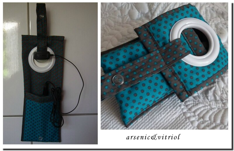 porte chargeur telephone turquoise