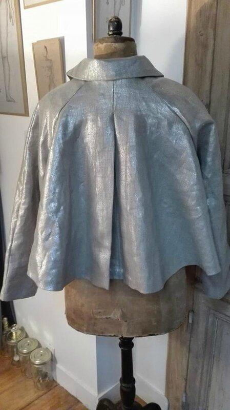 Veste VICTORINE en toile de lin argent - doublure de coton bis (2)