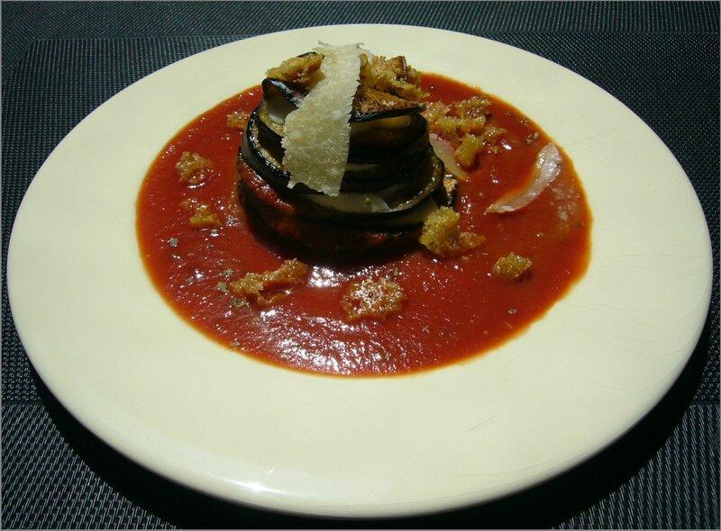Millefeuilles d'aubergine au miettes de parmesan