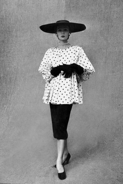 Balenciaga. Polka Dotted Smock Top over a Black Skirt, 1951
