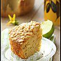 Gâteau aux saveurs méditerrannéennes (huile d'olive, citron vert et pignons de pin).