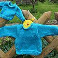 Brassières boutonnées turquoise bébé et poupon