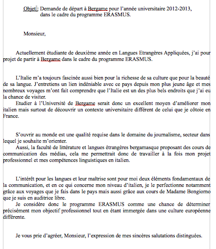 exemple lettre de motivation erasmus