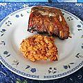 Longes de porc tex mex et riz aux haricots rouges et cacahouètes