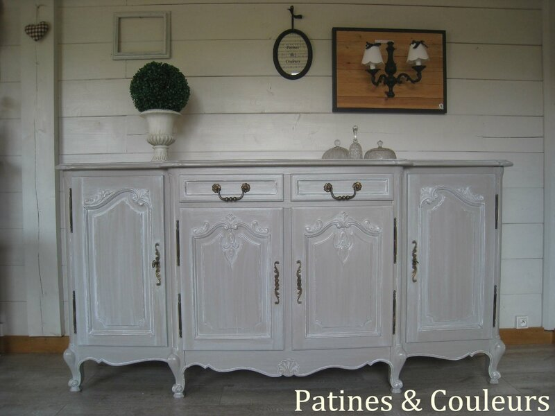 amazing article with buffet patine gris ancien. Black Bedroom Furniture Sets. Home Design Ideas