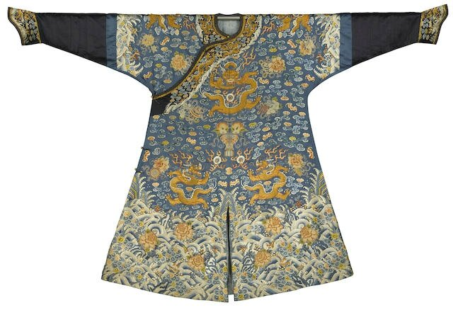 A mid-blue-ground 'dragon' robe, First half 19th century