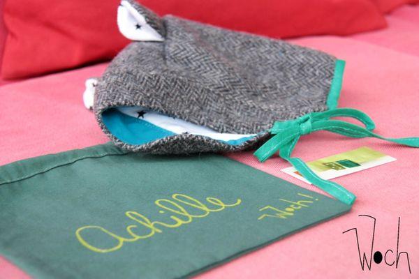 Achille pochette et béguin laine Woch 1