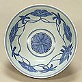 Blue-and-White Bowl with Hollyhock Design, Ming Dynasty, Chenghua Mark and Period, (1465-1487), d.14.6cm. Gift of SUMITOMO Group, the ATAKA Collection. Acc. No. 10786. The Museum of Oriental Ceramics, Osaka. © 2009 The Museum of Oriental Ceramics, Osaka.