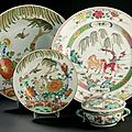 Ensemble en porcelaine de la famille verte. Chine, dynastie Qing, poque Kangxi (1662-1722)