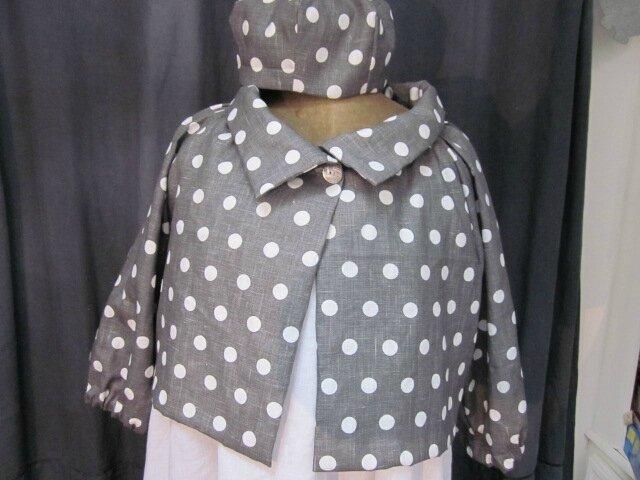 Veste BLANCHE en lin gris à pois blancs - Chapeau AGATHE en lin gris à pois blancs