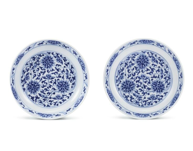 A pair of fine blue and white 'Lotus' dishes, Marks and period of Xianfeng