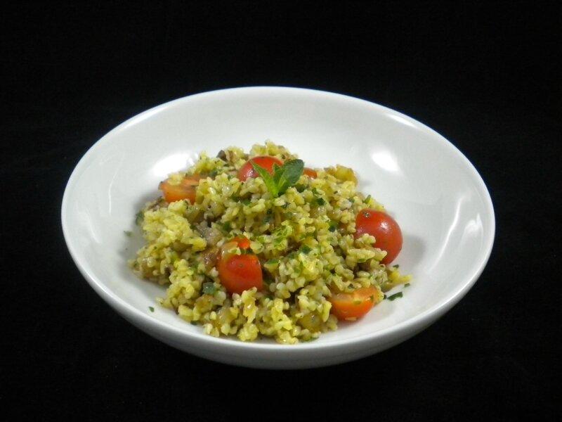 Salade de boulgour, aubergine, tomates, 5