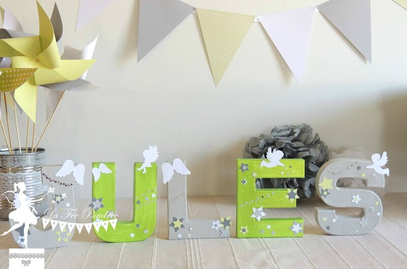 lettres prenom decorees moulin a vent fanion pompon decoration bapteme theme anges etoiles