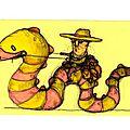 Cowboy sur serpent