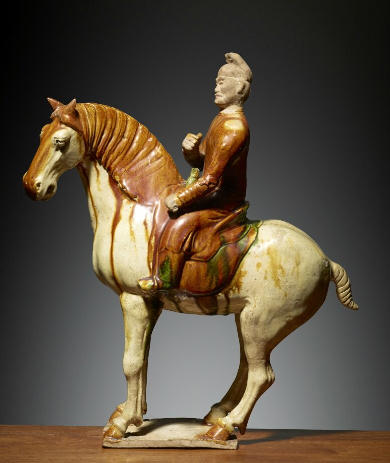 Homme à cheval, Chine, Dynastie des Tang (618 – 907), ca 8°siècle