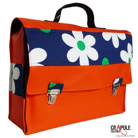 cartable primaire orange et fleur 1 600 600