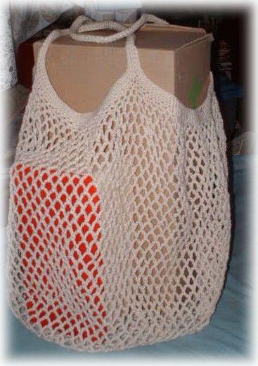 photo tricoter un filet a provision