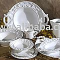 White_TUSCAN_Neiman_Marcus_16pc_DINNERWARE_SET_BAROQUE