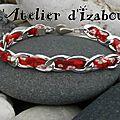 Bracelet maman en cordon liberty rouge à fleurs, chaîne et fermoir pression. coloré et gai !