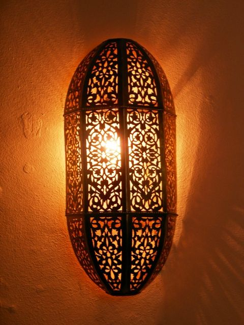 Moroccan Wall Sconces Lighting : Moroccan wall light, sconce and its delicate openwork rose pattern. Moroccan Decorations ...