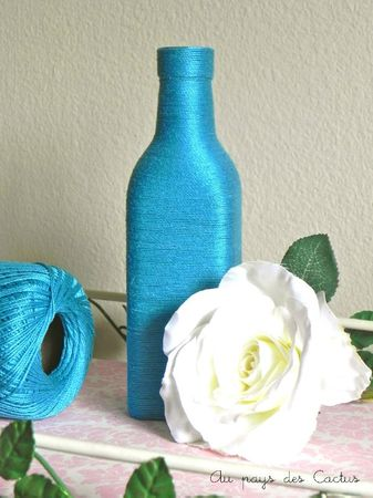Vase laine bleu turquoise Au pays des Cactus 4