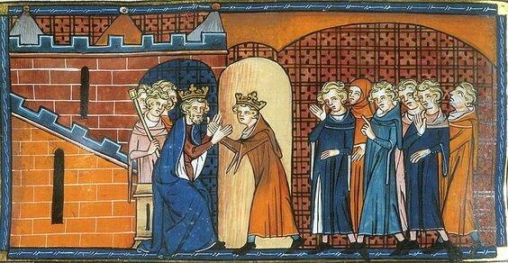 Arthur Ier de Bretagne rendant hommage à Philippe II Auguste (Chroniques de Saint Denis)