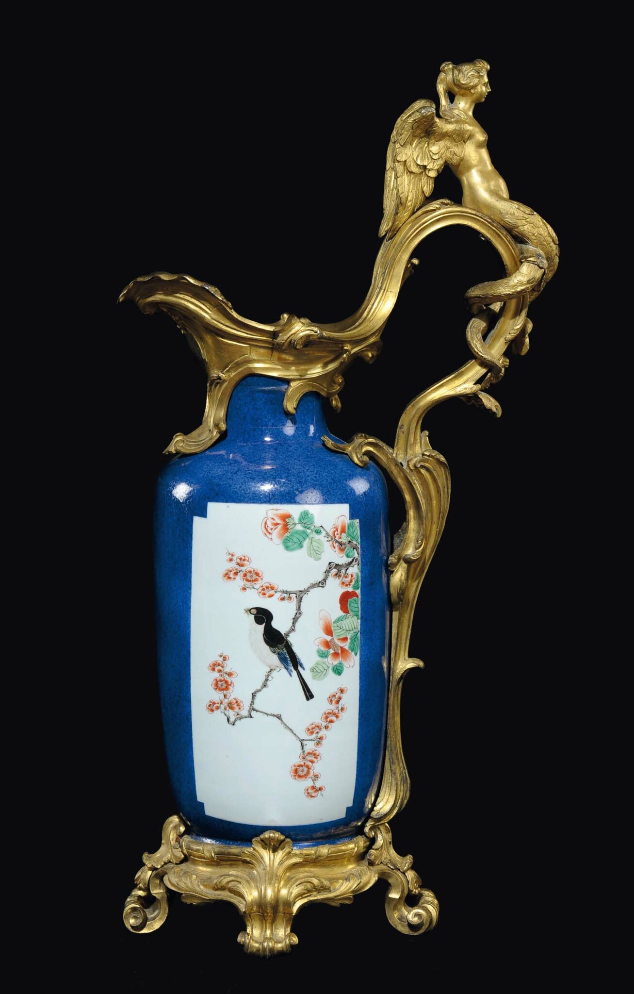 A Famille-Verte blue-ground vase on a gilt bronze base, China, Qing Dynasty, Kangxi Period (1662-1722)