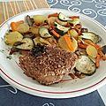Steaks de thon en croûte de sésame et rissolée de légumes