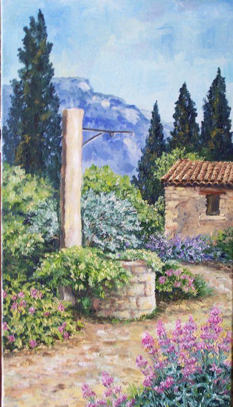 le jardin au printemps annie riviere artiste peintre paysagiste proven al. Black Bedroom Furniture Sets. Home Design Ideas