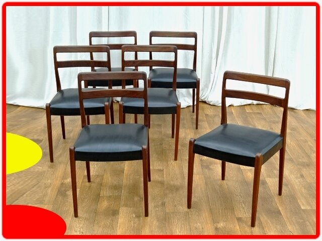 6 chaises vintage design danois palissandre vendu meubles d co vintage design scandinave. Black Bedroom Furniture Sets. Home Design Ideas