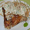 Confit de lapin et spaghetti sauce crème d'ail ciboulette