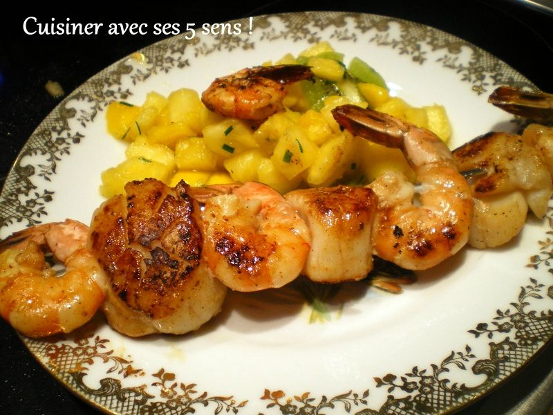 Brochette de gambas et saint jacques cuisiner avec ses 5 - Cuisine noix de saint jacques ...