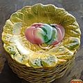 Vintage ... assiettes à dessert barbotine sarreguemines