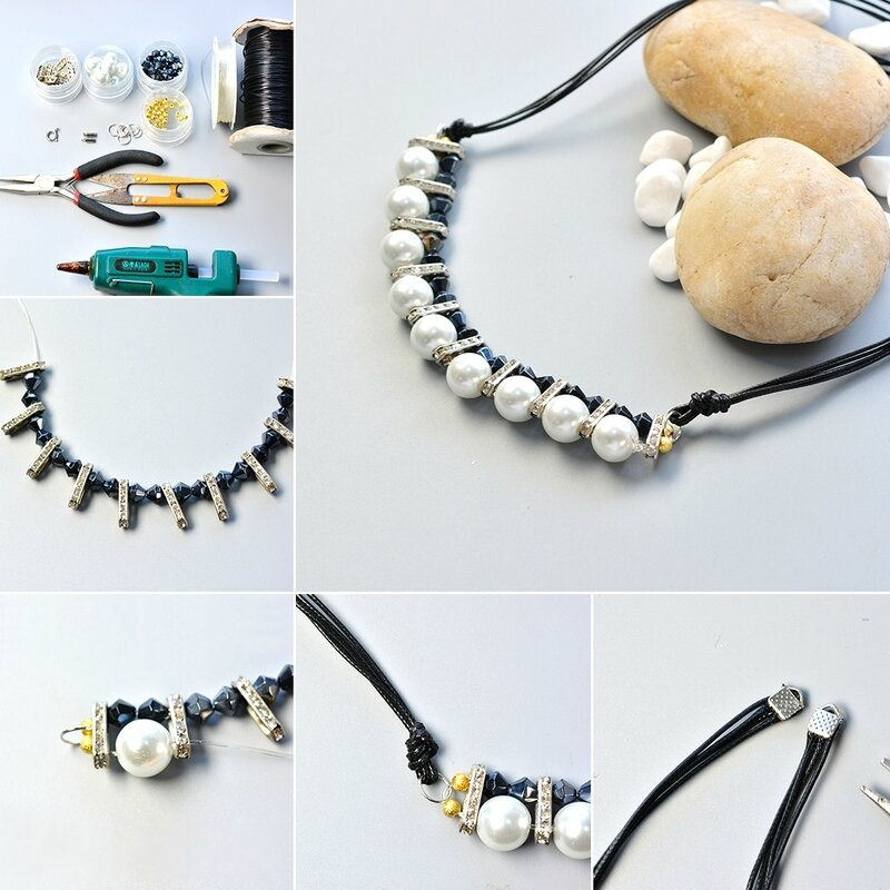 1080-How-to-Make-Black-Leather-Cord-Pearl-Necklace-with-Black-Glass-Beads