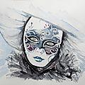 Masque vénitien argent bleu et bordeau