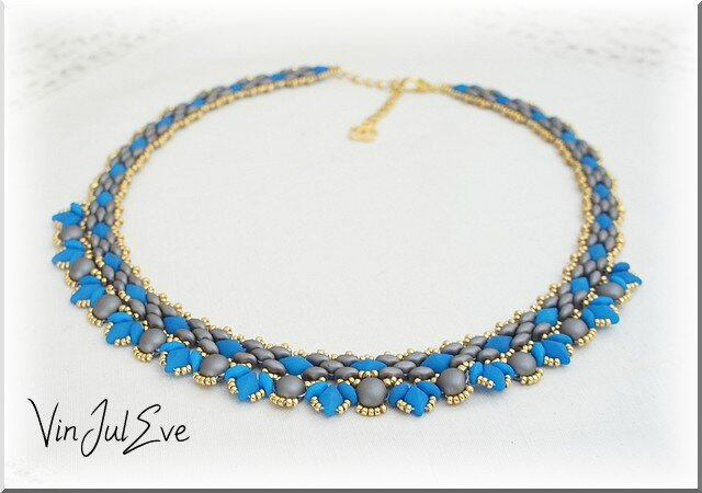 collier Arawa turquoise gris or