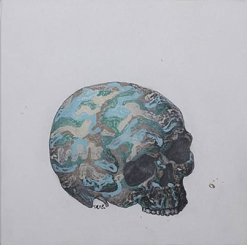Ji Dachun, camouflage skull, 2008, acrylic on canvas, h: 30 x w: 30 cm / h: 11.8 x w: 11.8 in. Aye Gallery. Art Hongkong 2009 May 14 - May 17, 2009