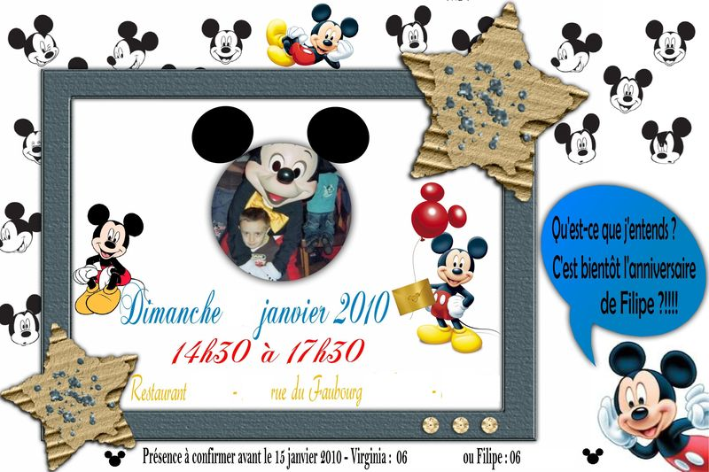 carte anniversaire mickey coleteremelly official. Black Bedroom Furniture Sets. Home Design Ideas