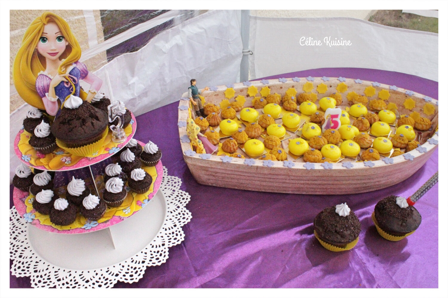anniversaire raiponce lila 5 ans entremets p che vanille choux chocolat et muffin chocolat. Black Bedroom Furniture Sets. Home Design Ideas