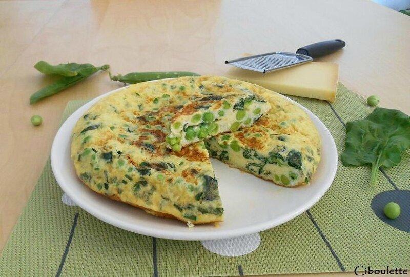 Omelette aux petits pois, épinards & beaufort façon « tortilla »