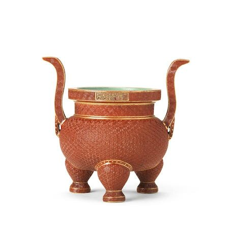 A very rare imperial porcelain simulated-cinnabar-lacquer tripod incense burner, Qianlong seal mark and of the period