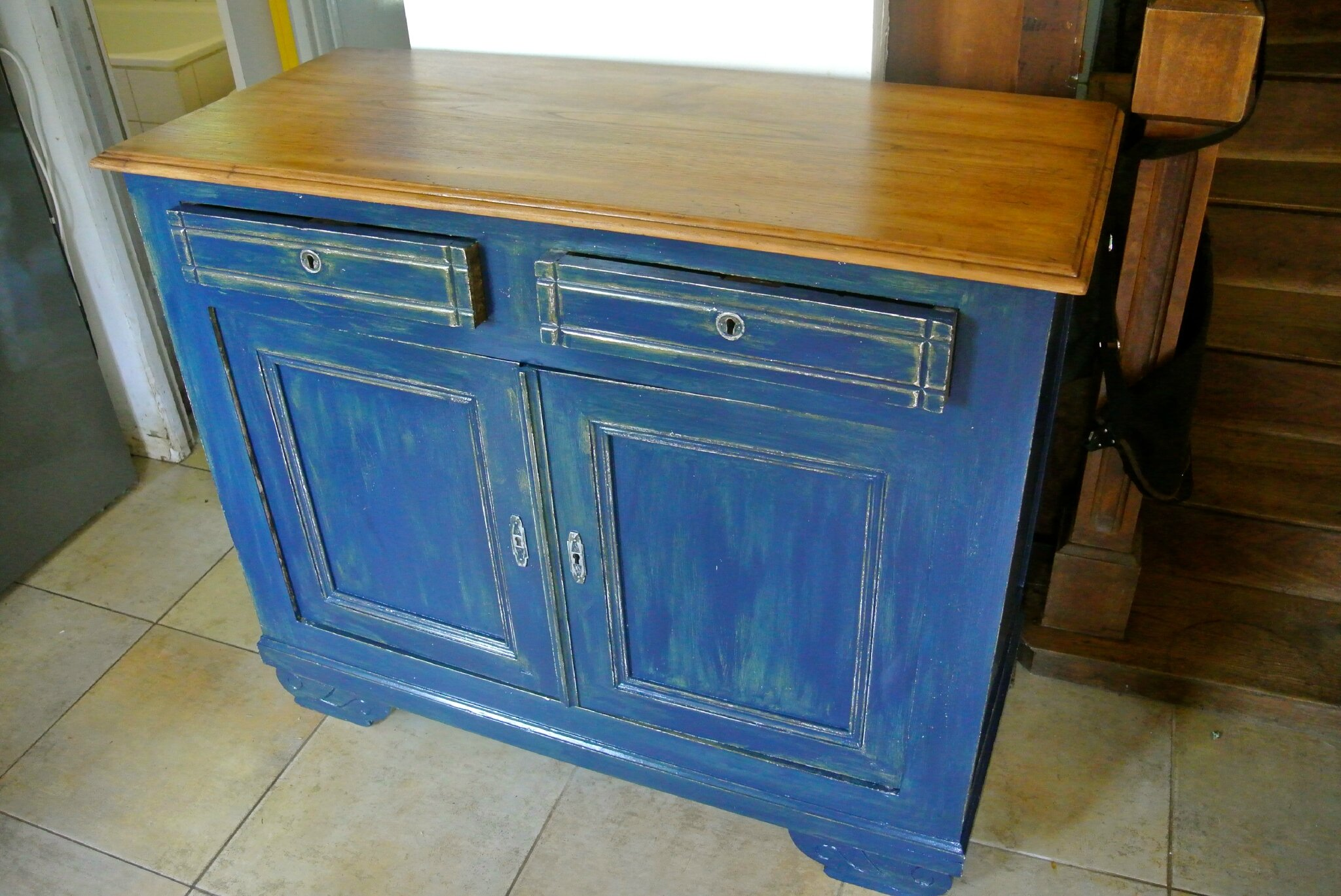 buffet patin bleu saphir barbatruc et r cup. Black Bedroom Furniture Sets. Home Design Ideas